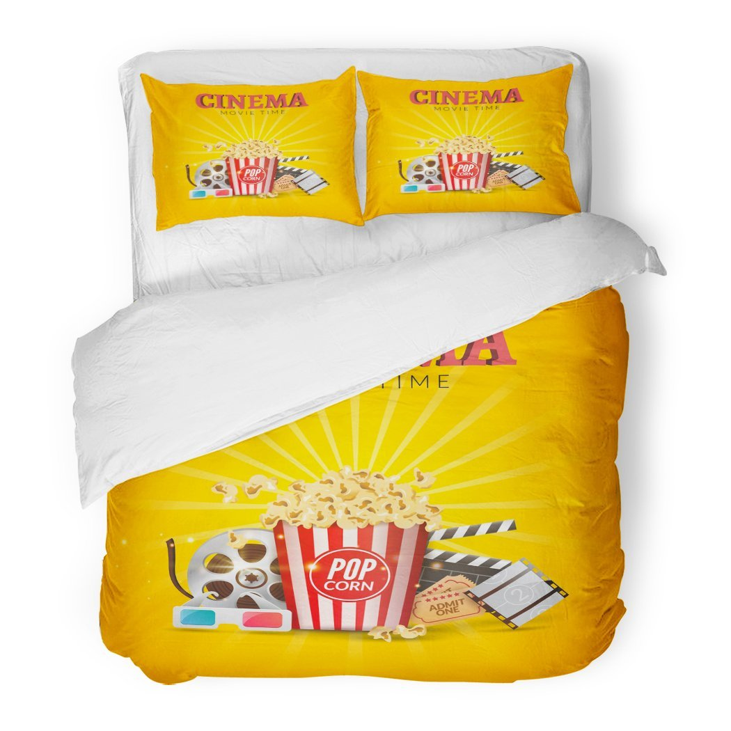 SanChic Duvet Cover Set Blue Film Cinema Movie Design Popcorn Filmstrip and Clapboard Tickets Time Beverage Decorative Bedding Set with Pillow Sham Twin Size