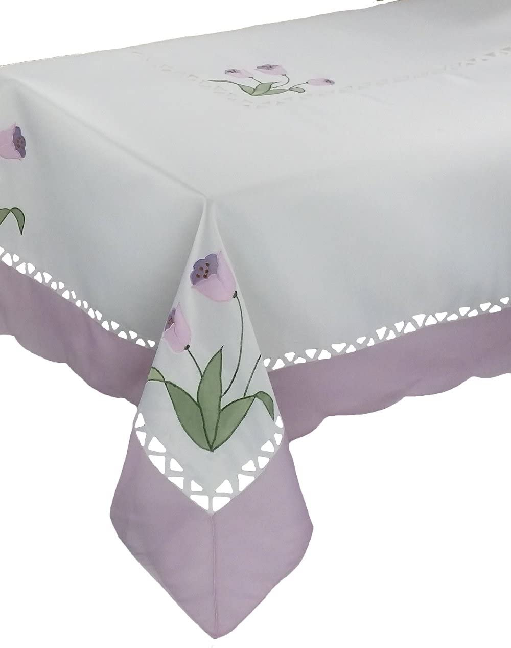 Xia Home Fashions Tulip Embroidered Cutwork Floral Tablecloth, 70 by 108-Inch, Lilac
