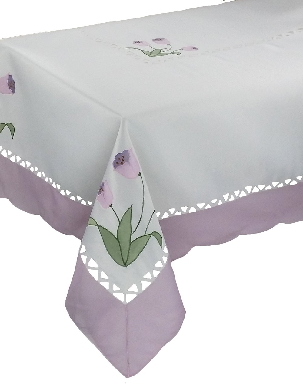 Xia Home Fashions Tulip Embroidered Cutwork Floral Tablecloth, 70-Inch By 120-Inch, Lilac
