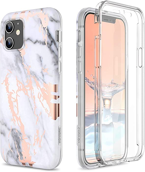 SURITCH Marble Case for iPhone 12 Mini, [Built-in Screen Protector] Full-Body Protection Shockproof Rugged Silicone TPU Bumper Protective Cover for iPhone 12 Mini 5.4 Inch (Gold Marble)