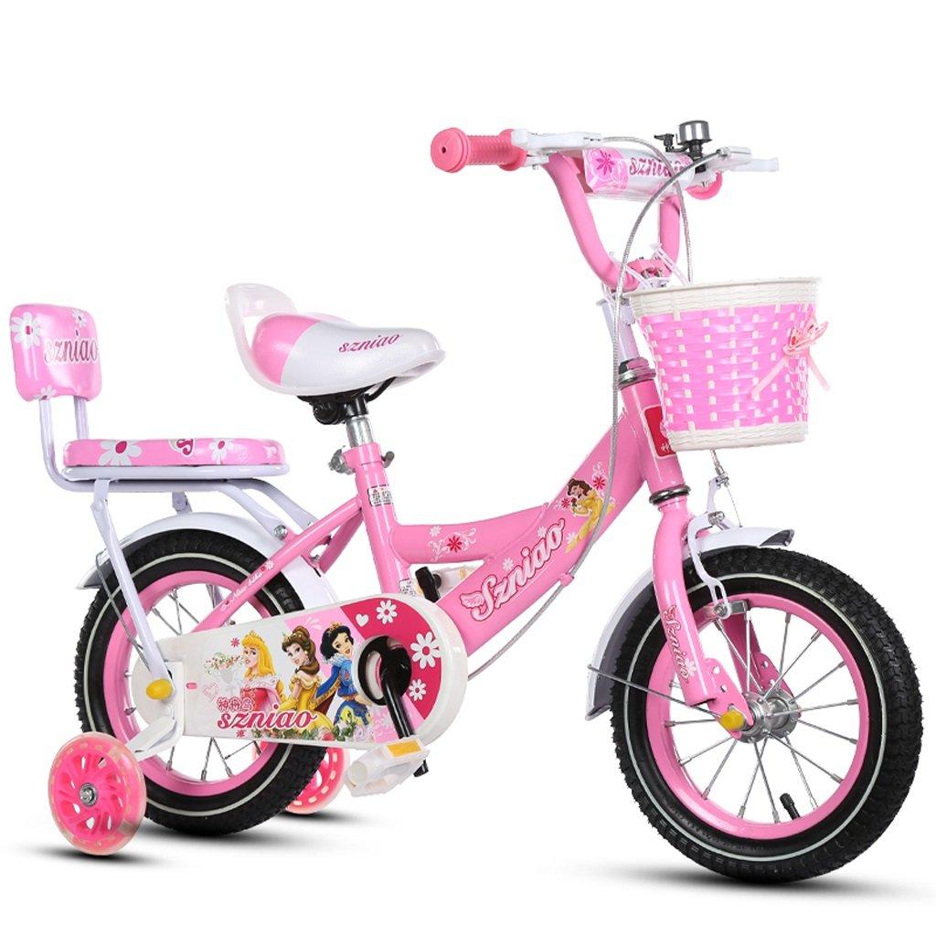 子供用自転車3-7/4-8/6-9ベビーカー14/16/18インチ子供用自転車ハイカーボンスチールフレーム、ピンク (Color : 16 inch pink) B07CZYS5NC