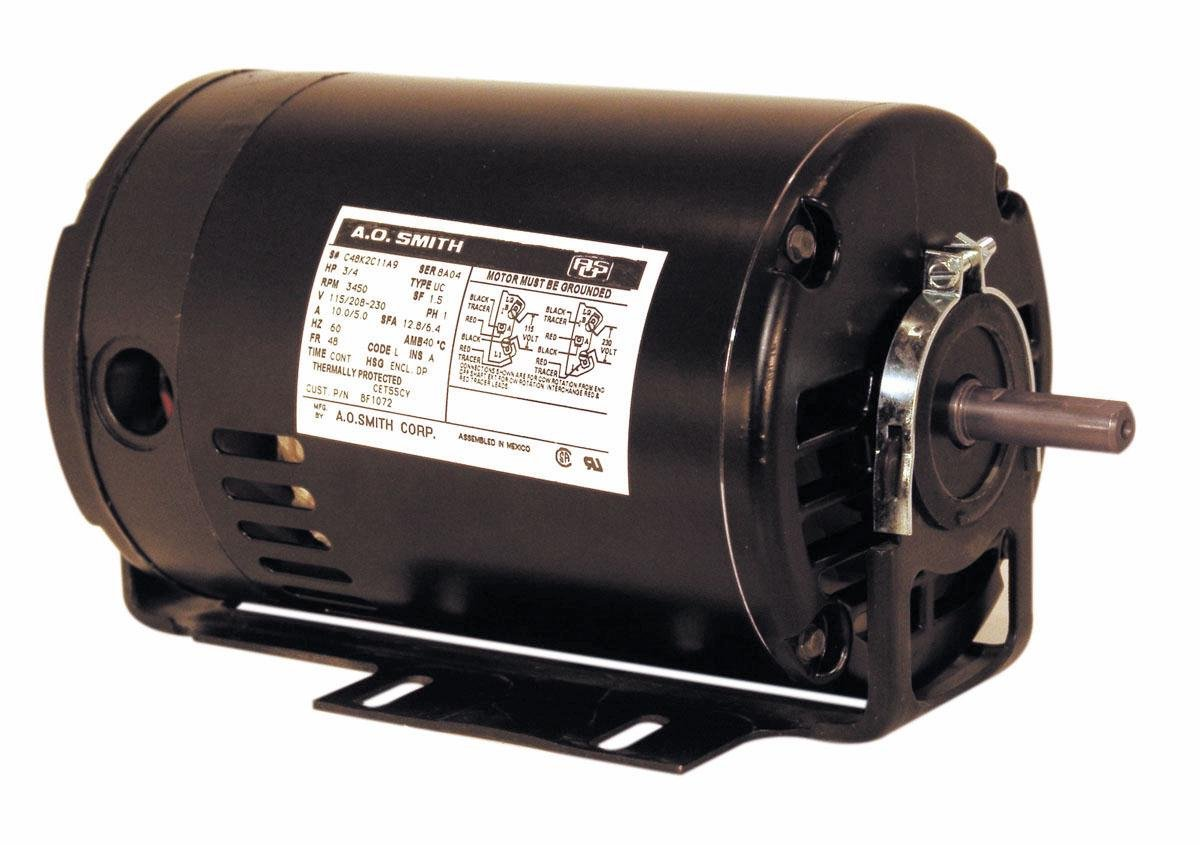 A.O. Smith BF1032 1/3 HP, 3450 RPM, 115/208-230 Volts, 48 Frame, ODP Enclosure, Ball Bearing Capacitor Start Motor