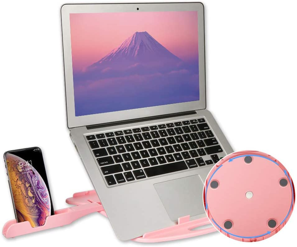 Giow Foldable Laptop Stand Notebook Radiator Multi-Angle Adjustment Laptop Bracket Set Mobile Phone Bracket,Pink