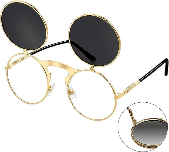 Gothic Polarized Round Retro Sunglasses Steampunk Flip Up