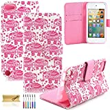 iPod Touch 5 Case, iPod Touch 6 Case, Dteck(TM) Fancy Cute PU Leather Stand Wallet Type Magnet Case [Cards/Money Holder] Flip Fold Cover for Apple iPod Touch 5th 6th Gen 4 inch (3 Pink Elephant)