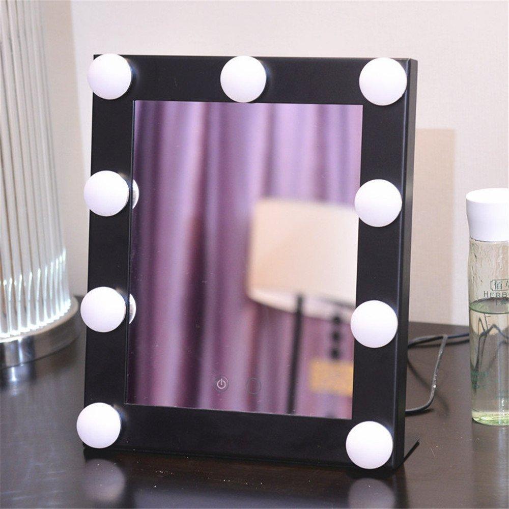 GF Wood Three Color Light Square Light Bulb Makeup Mirror Desktop Led Light Beauty Mirror Dimmable Light Cosmetic Mirror, Black