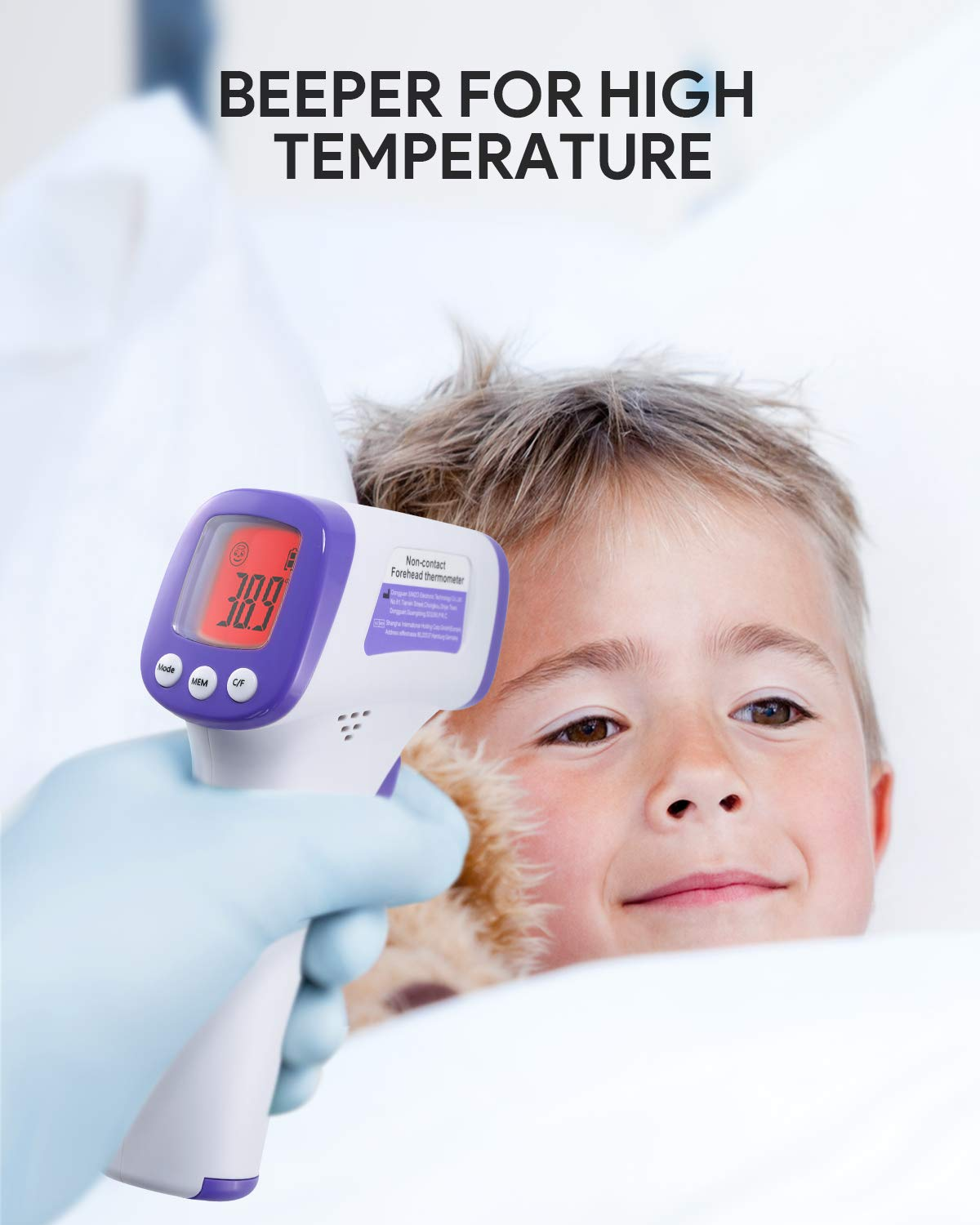 No Touch Accurate Instant Readings Kids Adults US in Stock Infrared Digital Forehead Thermometer Non-Contact Forehead Thermometer with LCD Display Fever Alarm and Memory Function
