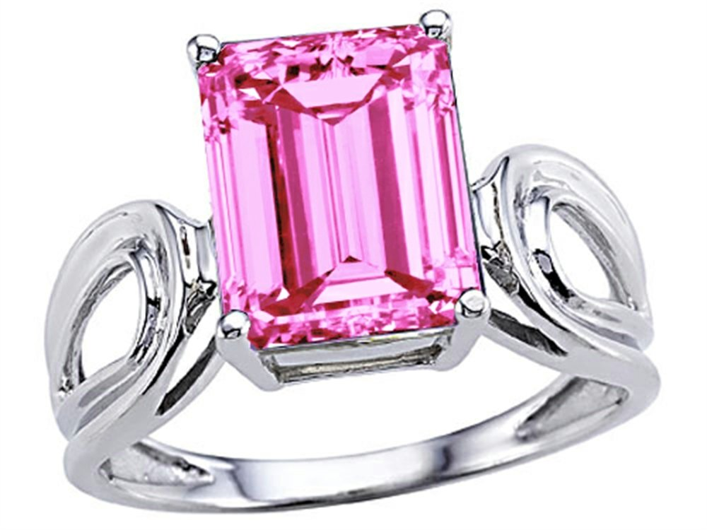 Tommaso Design Emerald Cut 10 x 8mm Created Pink Sapphire Solitaire Ring 14 kt White Gold Size 7.5