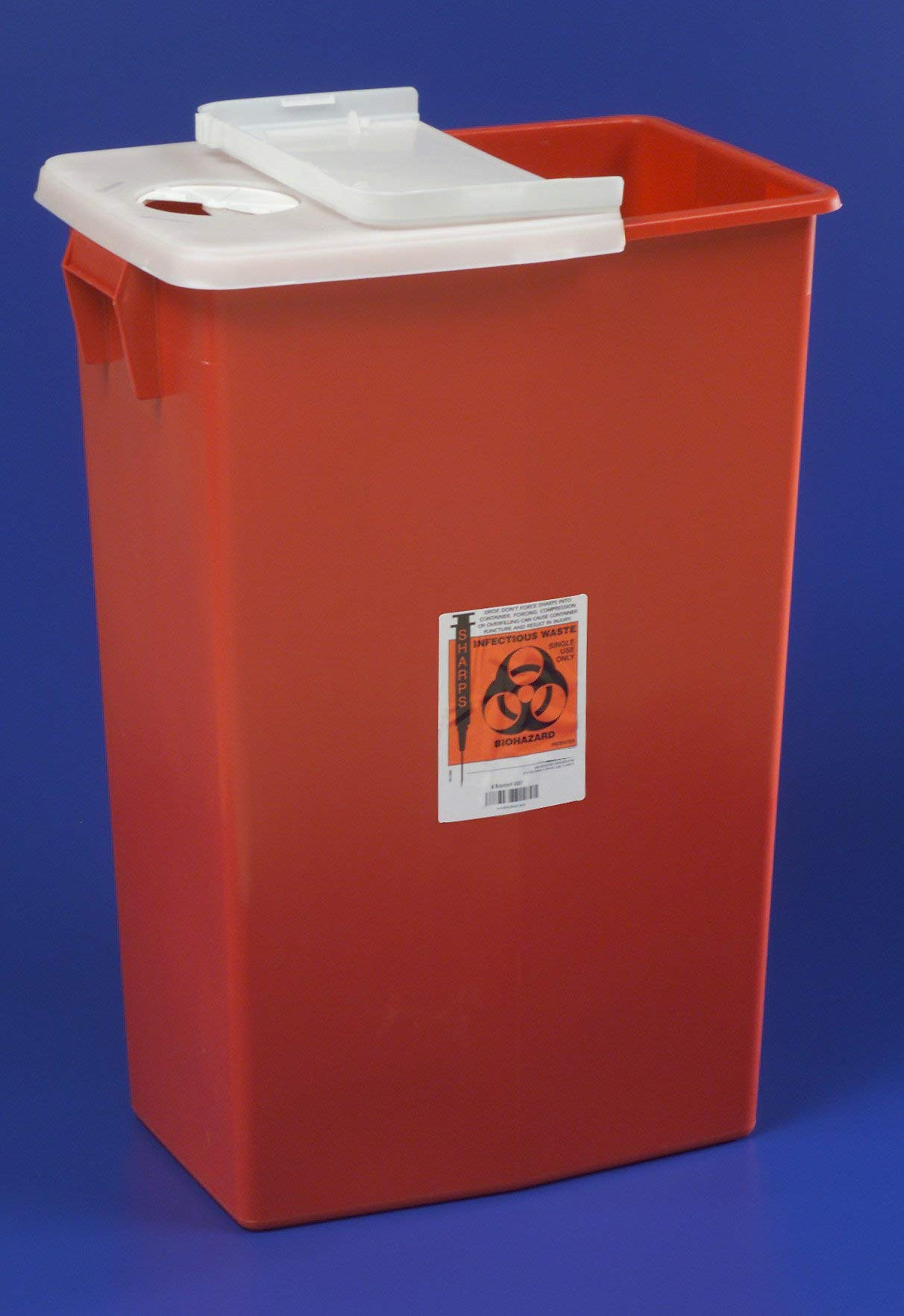 Sharps Container, SharpSafety 1-Piece 26 H X 18-1/4 W X 12-3/4 D Inch 18 Gallon Red Hinged Lid, 8991 - Each by Ensur
