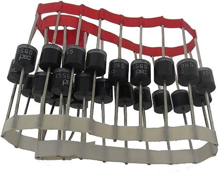 15sq045 rectificador 15 amperios 45 V Axial diodo Schottky Diodos de bloqueo para celdas Solar Panel Pack de 25 pcs: Amazon.es: Jardín