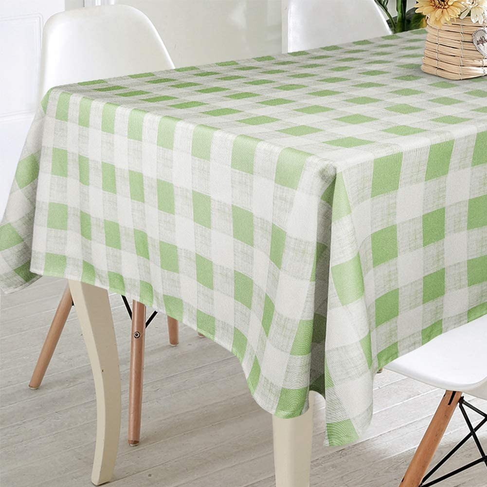 Amazon.com: VCVCOO Spill Proof Cloth Checkered Tablecloths for Rectangle  Tables,Stain Resistant Premium Polyester Table Cover Green and White Plaid  Tablecloths for Restaurants, Picnics, Bistros 60 by 84 Inch: Home & Kitchen