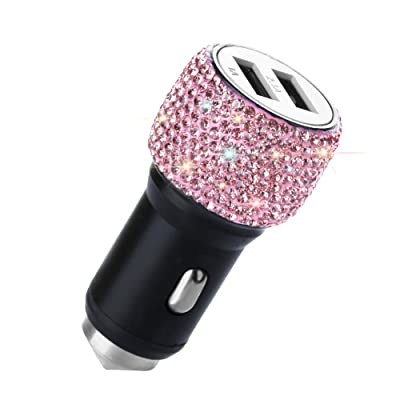 Dual USB Car Charger, SAVORI Car Adapter Bling Bling Rhinestones Crystal Car Decorations for Fast Charging Car Decors for iPhone Xs Max X Plus, iPad Pro/Mini, Samsung (Bling Pink): Home Audio & Theater