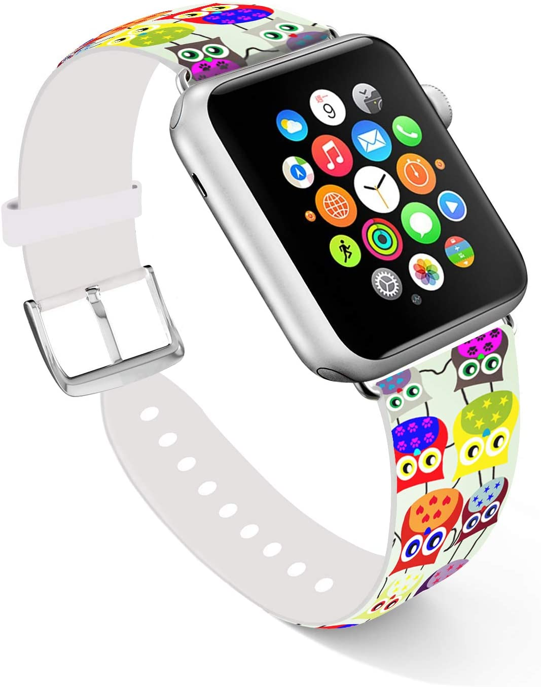 Ecute Compatible with Apple Watch Band 38mm 40mm, Soft Leather Band Strap Compatible with iWatch Series 6/5/4/3/2/1 - Cute Color Owls