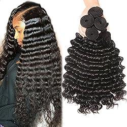 Brazilian deep wave hair 4 bundles 8A Grade 100% Unprocessed Brazilian virgin hair Deep Wave Bundles 24 26 28 30inch Remy Human Hair Natural Color