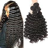 Brazilian Human Hair Deep Wave 4 Bundles 100% Unprocessed Virgin Brazilian Deep Curly Hair Weave Bundles Natural Color Total 400g (20 22 24 26inch)