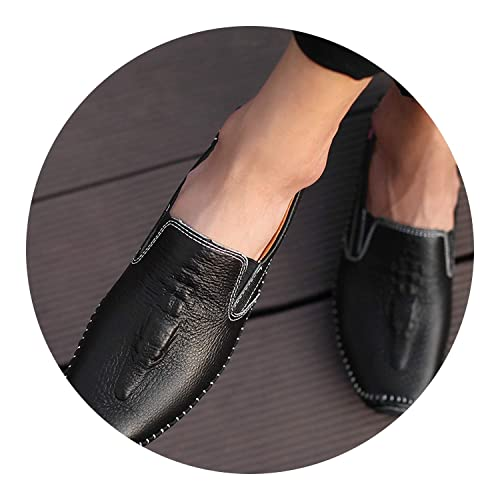 Loafers Crocodile Pattern Flats Male Driving Shoes Casual Patent Leather Man Mocasin,Black,6