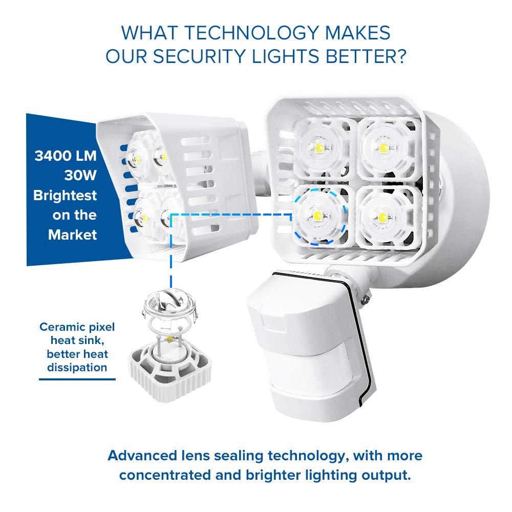 ETL Listed 5000K Daylight 250W Incandescent Equivalent Waterproof Flood Light 3400lm SANSI LED Security Motion Sensor Outdoor Lights White 30W