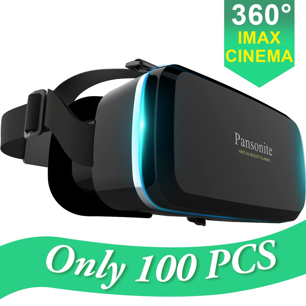 Pansonite Premium 3D VR Glasses with Adjustable Lenses & Head Strap, More Lightweight and Comfortable Virtual Reality headset for 3D Movies and Games, Fit for iPhone and Android Smartphone (black) by Pansonite