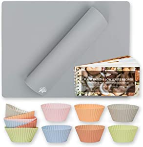 NetZeroCo. Zero Waste Silicone Bakeware Starter Duo - Reusable Nonstick Food-Grade Food Tray Pan Liners - 2 Baking Mats & 12 Colorful Cupcake Muffin Cups Bundle - Mini Vegan Cookbook Included (Grey)
