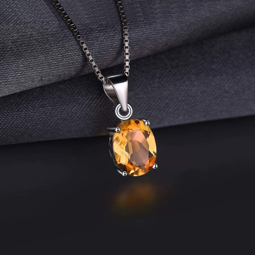 GUANQNN Collar Colgante de Citrino Natural Collar de Gargantilla de Piedras Preciosas de Plata Mujer joyería de Plata sin Cadena