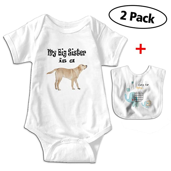 090e388610d Funny My Big Sister is A Yellow Lab Dog Baby Rompers Bodysuit with Free Baby  Bibs
