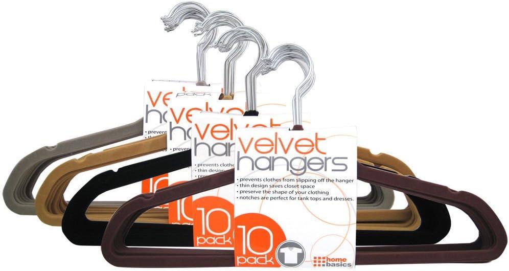 Home Basics 100 Pack, Velvet Flocked Hangers, 8 Multiple Colors (Brown)