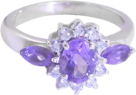 Silver Ring Faceted Amethyst Multistone