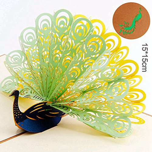 3D Pop Up Peacock Cards Wedding Lover Happy Birthday Anniversary Greeting Card D