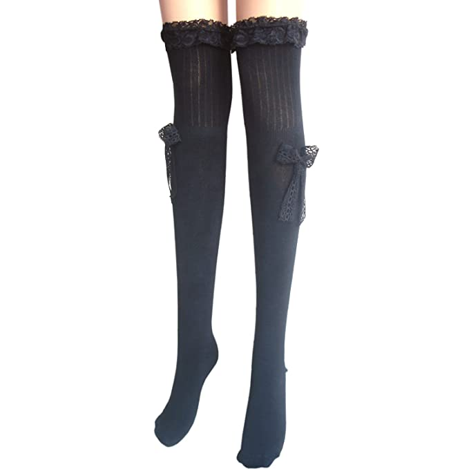 0e256f40bd8 ladies thigh high cotton stockings with lace (black)  Amazon.co.uk  Clothing