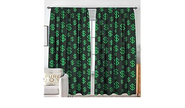 NUOMANAN Cortinas para el dinero de la sala de estar, patrón de símbolos de dólar en fondo verde oscuro con signo monetario de EE. UU., verde cazador, verde lima, colección de decoración,