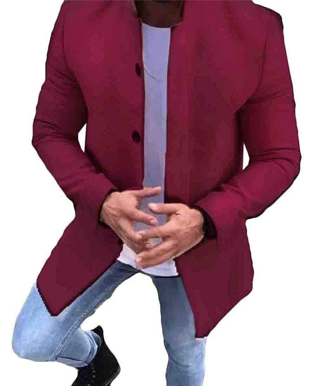 562fb5d66 WineRed Mhihll Men's Stand Collar Single Breasted Fashion Windbreaker  Windbreaker Windbreaker Long Jacket Coat 4b18a6