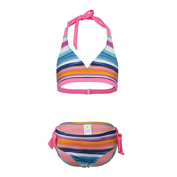 7521dc8e2d DAYU Girls Bikini Set Halter Two Piece Swimsuits Stripe Swimwear Beachwear  6-6X