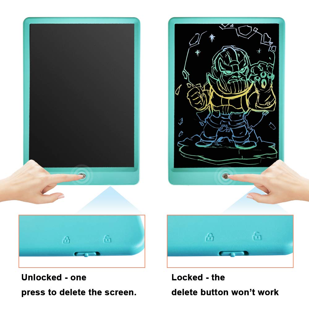 Drawing Tablet 10 Inches LCD Writing Tablet Colorful Screen, Doodle Board Electronic Doodle Pads Writing Board for Kids and Adults(Blue) by ZBHT (Image #3)