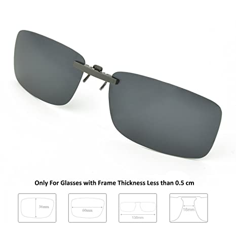 94efe2f4f663f Enem Day Vision Polarized Black Clip-on Metal Clip Driving Sunglasses   Amazon.in  Car   Motorbike