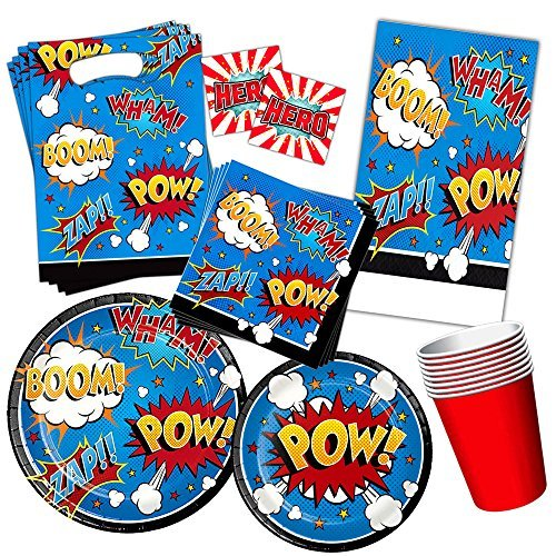Superhero Party Supplies Set Kids Toddlers -- Super Hero Birthday Party Decorations, Party Favors, Plates, Cups, Napkins and More! by Super Hero Party Supplies