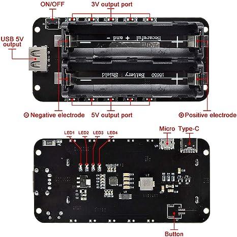 Micro USB Wemos ESP32 18650 Battery Shield V3 ESP-32 LED for Arduino Raspber CBL