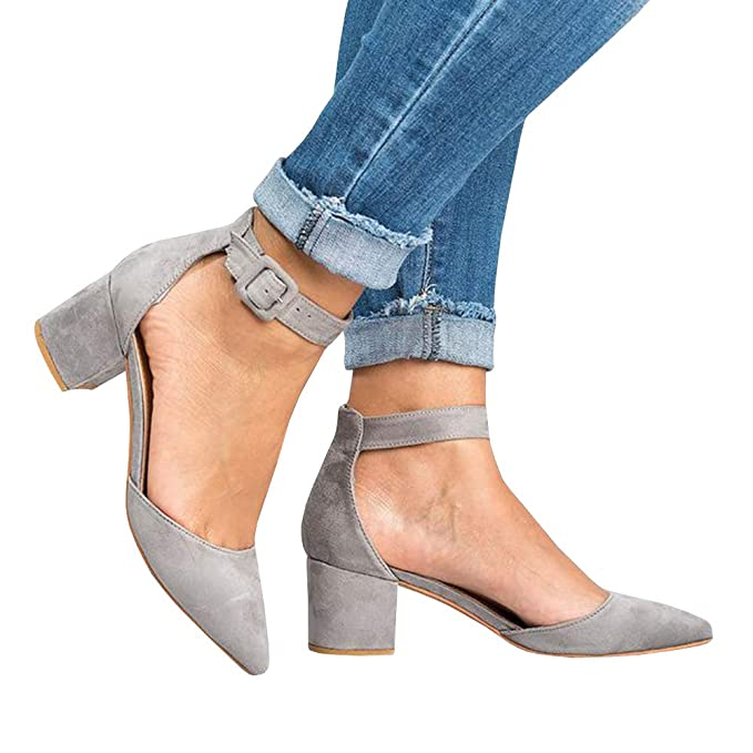 5eaad9e0545 Amazon.com  Pxmoda Womens Pointed Toe Pumps Chunky Block Heel Suede Sandal  with Ankle Strap  Clothing