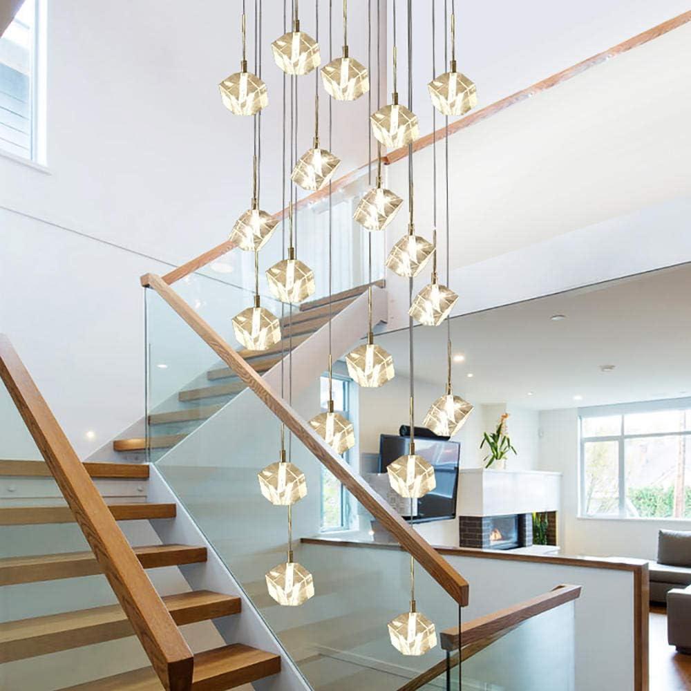Araña de cristal cuadrada led moderna Iluminación Gran hotel Restaurante Escalera de caracol Candelabros Sala de estar Lámparas colgantes de cristal-36 luces D80xH300cm_cool light (6000K): Amazon.es: Iluminación