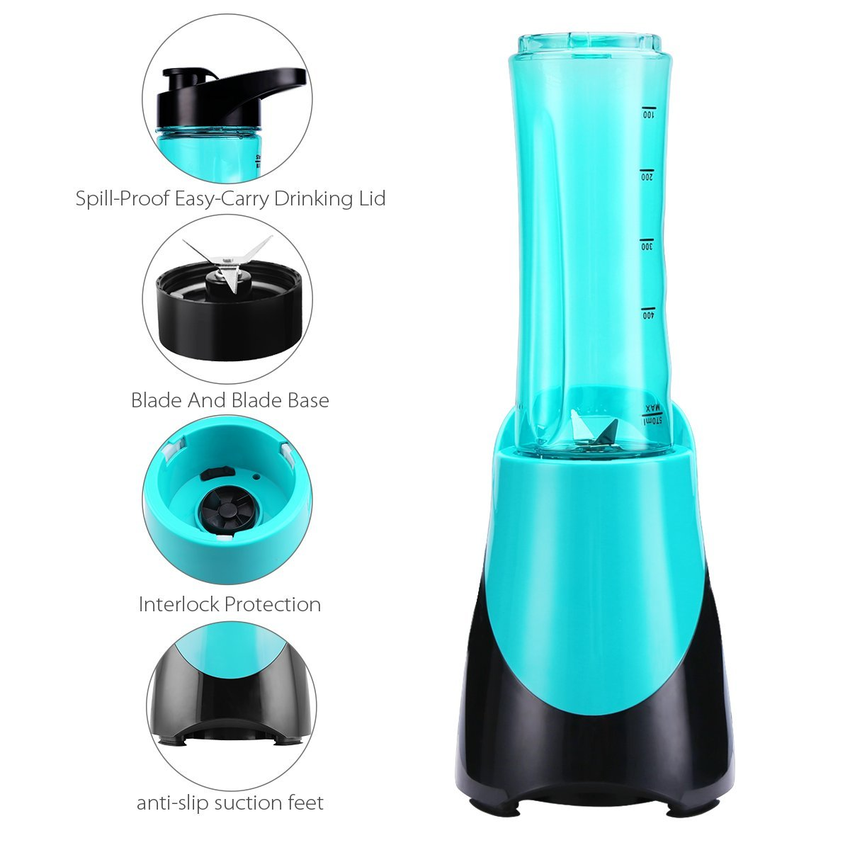 Personal Blender for Smoothies Shakes, Powerful 300W(24,000RMP) 4 Sharp Blades, Small Blender Single Serve with 20 oz Portable Sport Bottle, Blue by CUSINAID (Image #5)