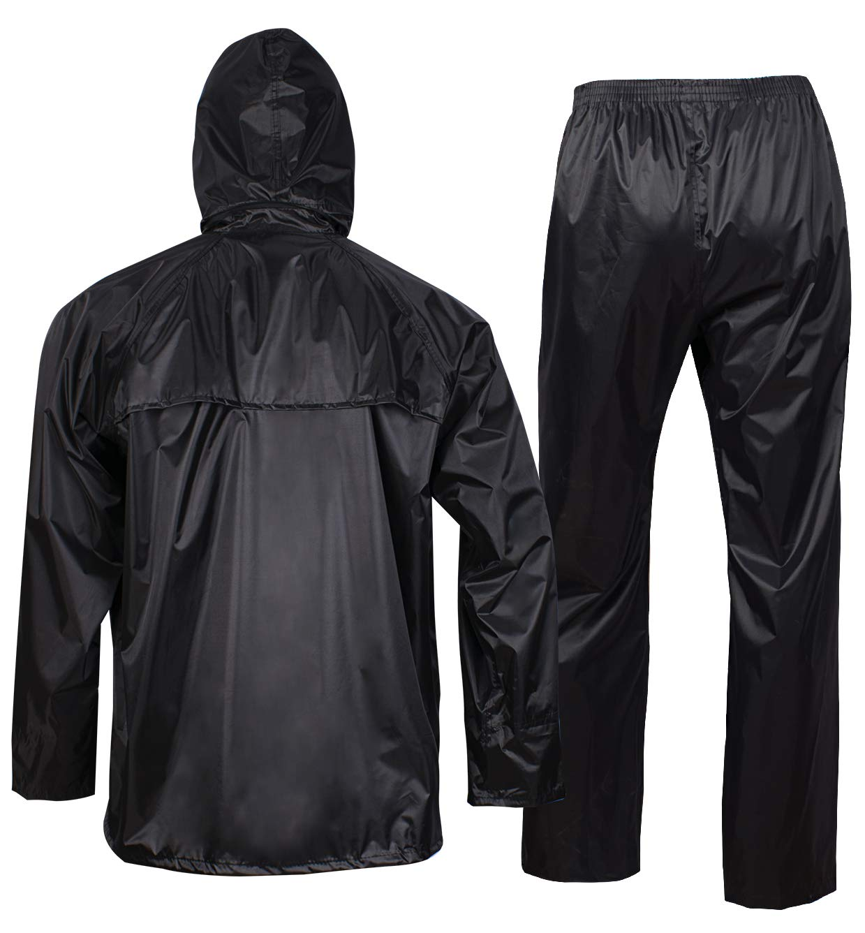 Rain Jacket with Pants for Men Women Waterproof Rain Coat 3-Pieces Ultra-Lite Suits (Large, Black) by FWG (Image #3)