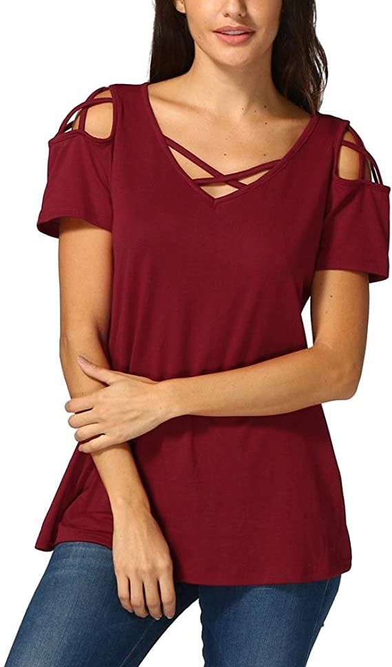 FAMILIZO Camisetas Mujer Verano Blusa Mujer Elegante Camisetas Mujer Manga Corta Algodón Camiseta Mujer Camisetas Mujer Fiesta Camisetas Sin Hombros Mujer Camisetas Originales Mujer: Amazon.es: Ropa y accesorios