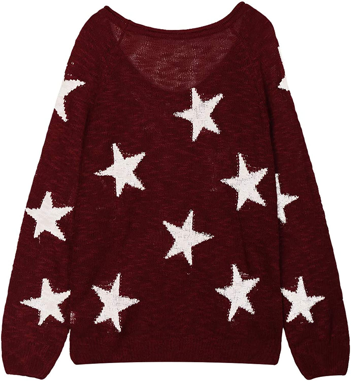 Meenew Womens Off The Shoulder Star Sweater Casual Pullover Tops Blouses