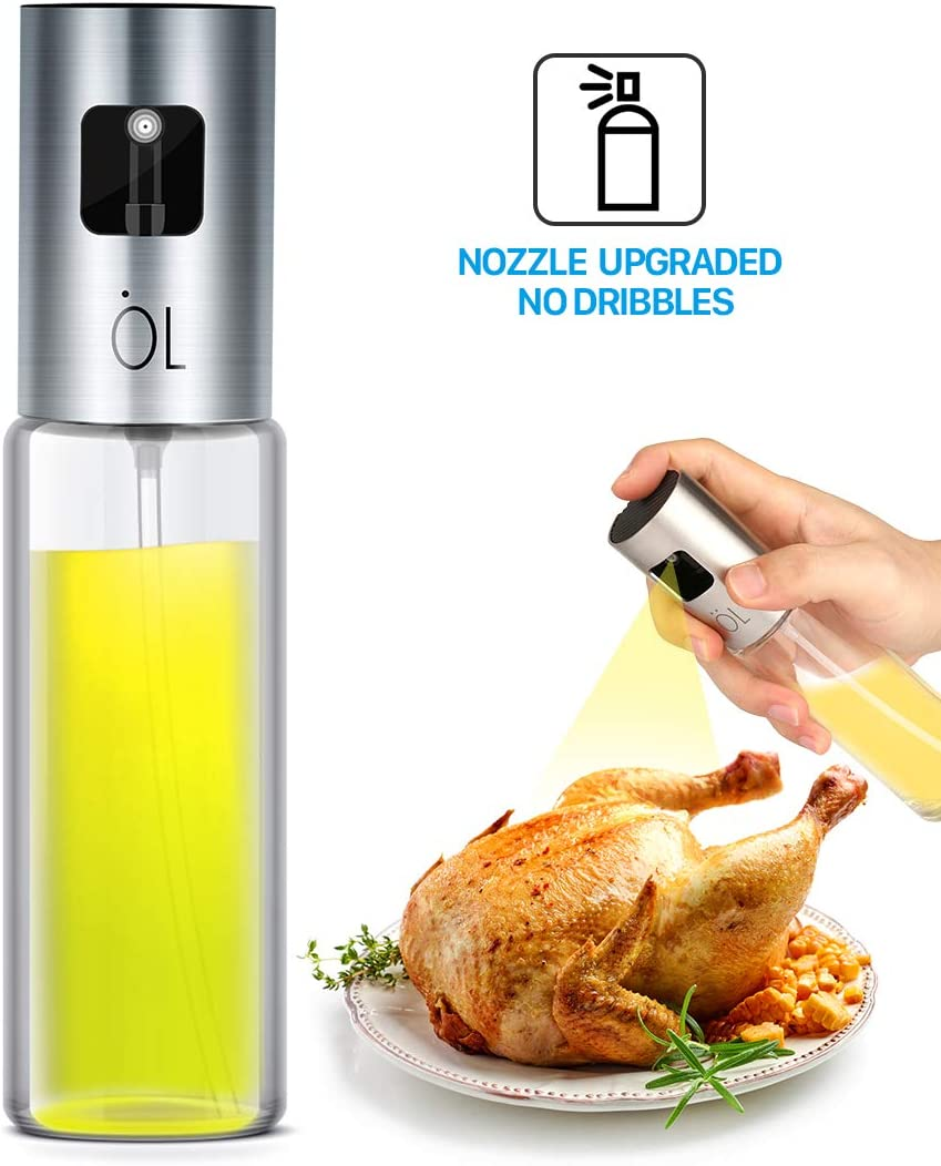Oil Sprayer for Cooking, Olive Oil Sprayer Mister of Nozzle Upgraded, no Dribbles, Mist More Exquisite, 3.4OZ Capacity Food-Grade, Versatile Glass oil mister for Cooking/BBQ/Roasting/Grilling/baking
