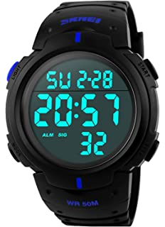 PASOY Men Digital Watch Big Dial Light LED Swim Waterproof Black Rubber Band Alarm LED Date