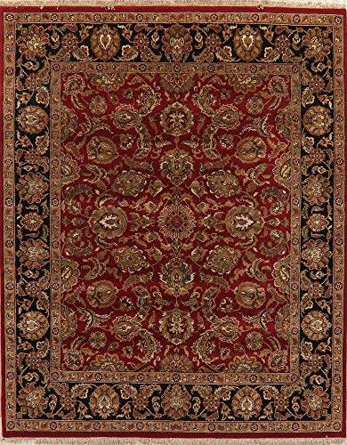 - New Floral Burgundy & Black Agra Oriental Area Rug Hand-Knotted Wool Carpet 8X10