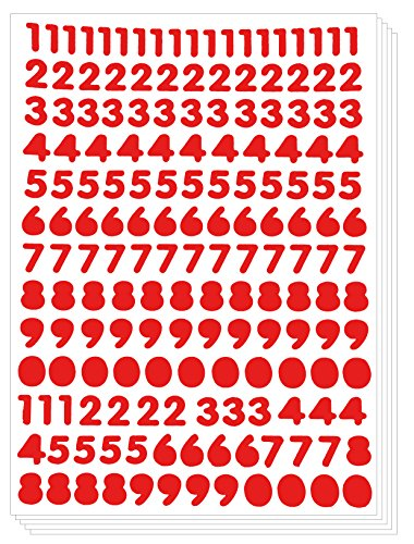 Numbers Arabic Sticker - Primary Digit Count Label Decorative (Set of 5 sheets, Red)