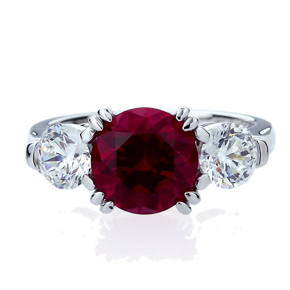Platinum Plated Sterling Silver 2ct Simulated Ruby CZ 3 Stone Wedding Anniversary Ring ( Size 5 to 9 ), 9