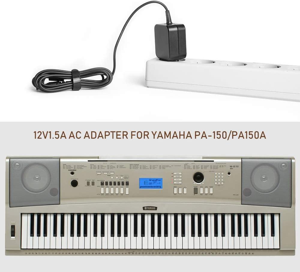 TAIFU Adaptador de cable de carga 12 V 1,5 A para Midi Yamaha PA-3 PA-3C PA-3B PA-PA PA-PA PA-5 PA-5 PA-150 PA-150 PA-150 ez-150 200 dgx-200 psr-175 ...