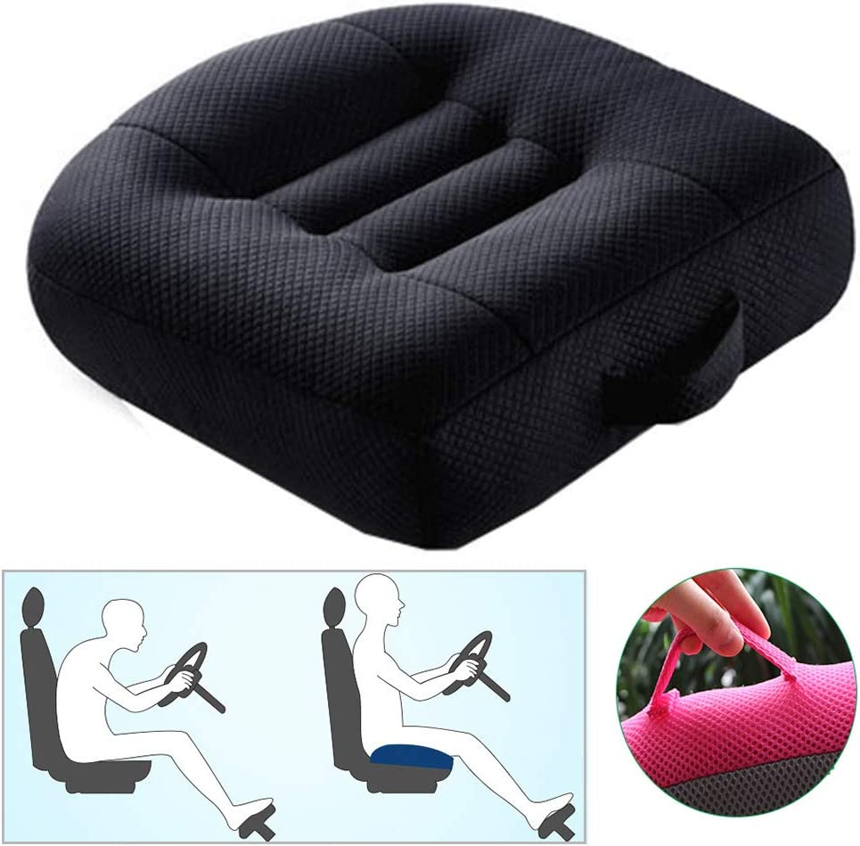 WSGJHB Car Booster Seat Cushion Posture Cushion Portable Breathable Mesh, Effectively Increase The Field of View by 12cm/ 4.7in, Ideal for Office, Home, Angle Lift Seat Cushions,Black
