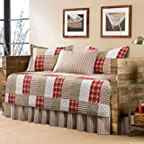 Red and Khaki Cotton, Patchwork Plaid Pattern 5-Piece Quilted Daybed Cover Set and Traditional Style Included Cross Scented Candle Tart